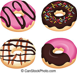 Image representing a delicious donuts, isolated on white, vector design.