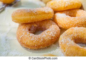 Delicious donuts in box