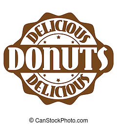 Delicious donuts stamp or label