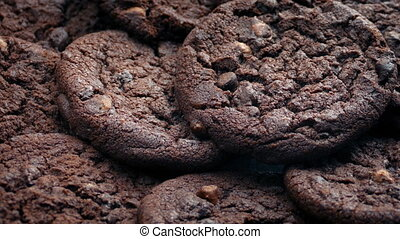 Delicious Double Chocolate Cookies Turning Slowly - Double...
