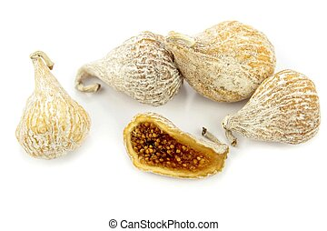Delicious dried figs on white background