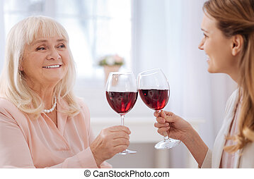 Close up of glasses with wine