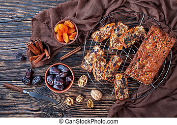 delicious dry fruits cake, top view