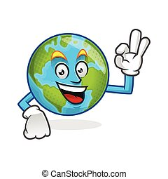 Delicious earth mascot, earth character, earth cartoon vector
