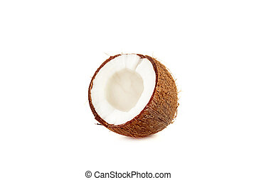 exotic ripe coconut half isolated on white