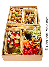 Delicious Farm Meal Carton Box Isolated Delivery