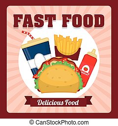 Delicious fast food graphic design, vector illustration...