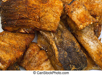 delicious fish steak slices on a plate