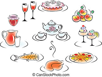 Delicious food and drink: pizza, cake, chicken, fish,...