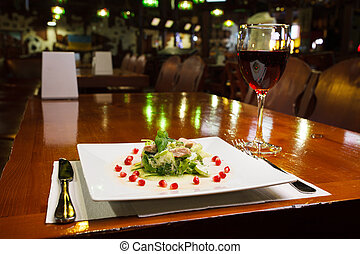 delicious food and wine given at the restaurant