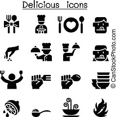 Delicious food icon set