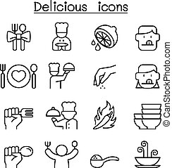 Delicious food icon set in thin line style