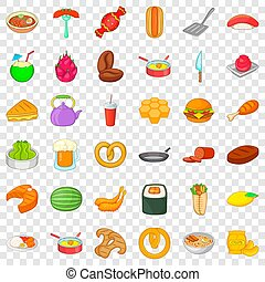 Delicious food icons set, cartoon style