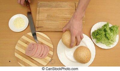 Delicious Food - SLOW MOTION. A man prepares a delicious...