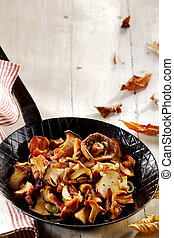 Delicious forest mushrooms for an autumn meal