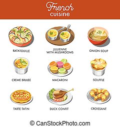 Delicious French cuisine with most famous exquisite dishes...