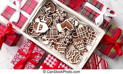 Delicious fresh Christmas decorated gingerbread cookies...