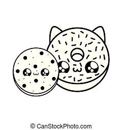 delicious fresh cookie with sweet donut kawaii style