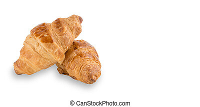Delicious, fresh croissants isolated on white, With clipping path. French breakfast.