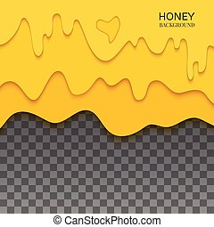 Delicious fresh dripping honey on transparent background