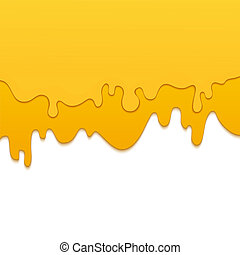 Delicious fresh dripping honey on white background