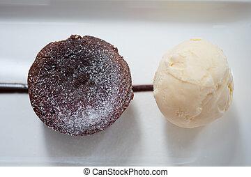 Delicious fresh fondant chocolate served with vanilla ice cream.