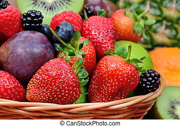 Delicious fresh fruits in a basket