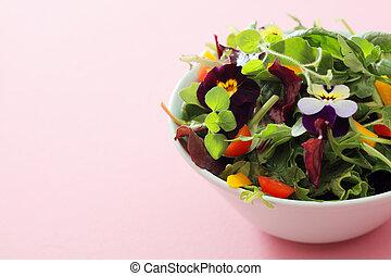 Delicious fresh herb and nasturtium salad - White ceramic ...
