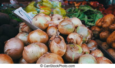 Delicious fresh onion peppers and other vegetables with price tags are on market counter