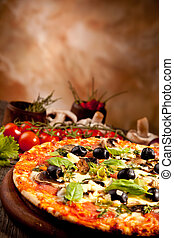 Delicious fresh pizza served on wooden table