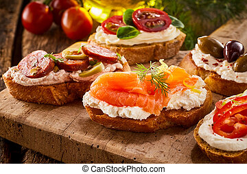 Delicious fresh smoked salmon canape