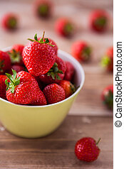 Delicious fresh strawberries in a bowl