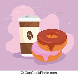 delicious fresh sweet donuts with coffee beverage, pastry bakery concept