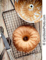 Delicious freshly baked golden ring cake