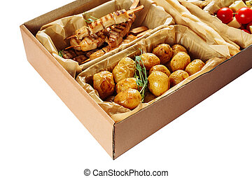 Delicious Fried Meal Carton Box Isolated Delivery