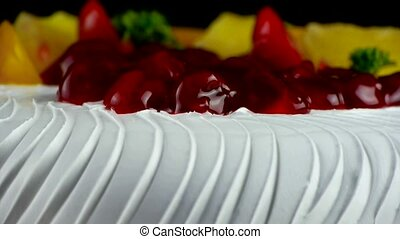 delicious fruit cake,cherry,tomato,