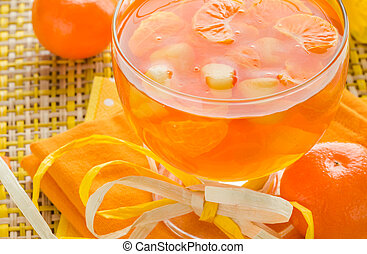 Delicious fruit jelly orange glass - Delicious fruit jelly...