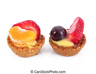 fruit pastries on white background