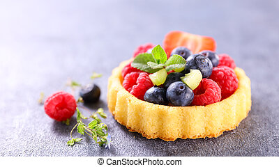 delicious fruit tart with strawberry,  blueberry and raspberry
