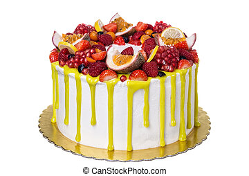 Delicious fruit yellow cake, for birthday. On white background.
