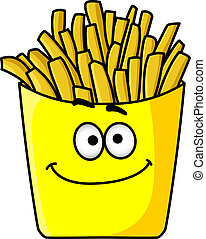 Delicious golden crispy French fries in a packet - Delicious...