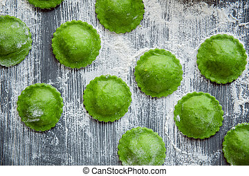 delicious green ravioli with the addition of spinach dough,...