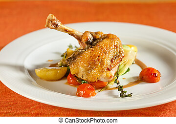 Delicious grilled chicken with vegetables.