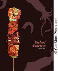 Delicious grilled seafood on a skewer. Engraving style. Vector illustration.