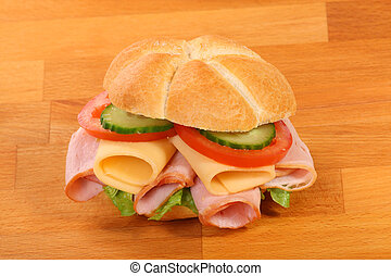 Delicious ham, cheese and salad sandwich