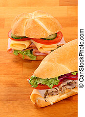 Delicious ham, cheese and salad sandwiches