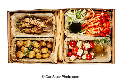Delicious Health Meal Carton Box Isolated Delivery