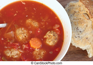 Meatball Soup - Delicious healthy Meatball Soup and bread. ...
