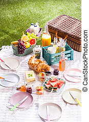 Delicious healthy summer picnic on the grass