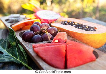 Delicious healthy tropical fruit breakfast.